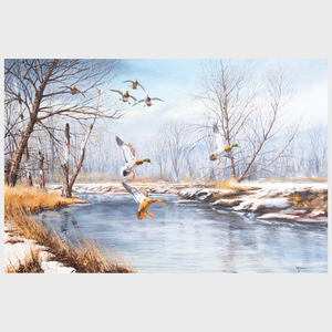 David Maass (b. 1929): Winter River Mallards