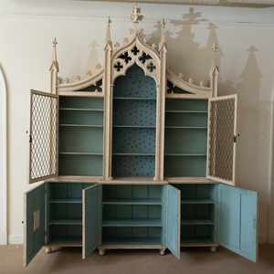 Late William IV Gilt-Metal-Mounted and Painted Neo-Gothic Bookcase