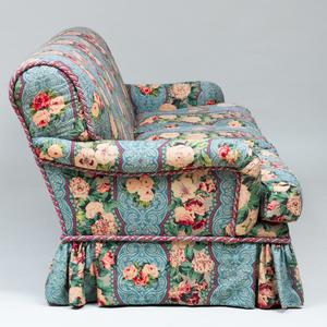 Linen Chintz Upholstered Three Seat Skirted Sofa