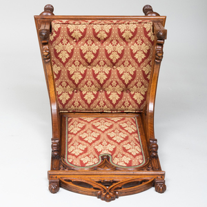 Early Victorian Neo-Gothic Carved Oak Arm Chair