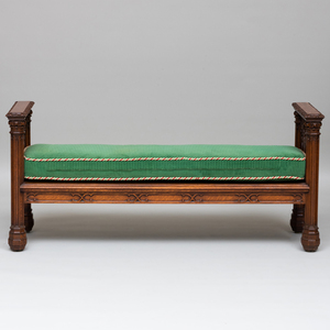 Victorian Neo-Gothic Carved Oak Hall Bench