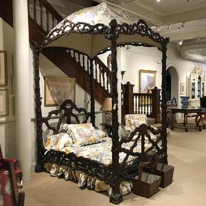 German Black Forest Carved Wood and Upholstered Tester Bed