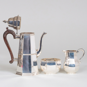 English Silver Three-Piece Coffee Service