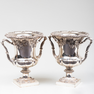 Pair of English Silver Plate Wine Coolers