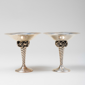 Pair of Jensen Style Silver Tazza
