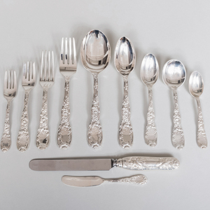 Tiffany & Co. Silver Flatware Service in the 'Chrysanthemum' Pattern
