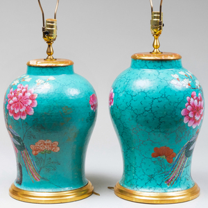 Pair of Chinese Turquoise Ground Jars Mounted as Lamps