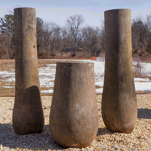 Three Indonesian Palm Wood Conical Shaped Totems
