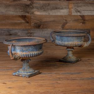 Pair of Cast Iron Semi Gadrooned Garden Urns
