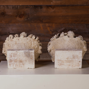 Two Cast Stone Fruit Filled Baskets, Stamped Made in Italy