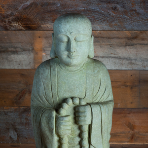 Group of Three Chinese Carved Limestone Models of Buddhist Priests
