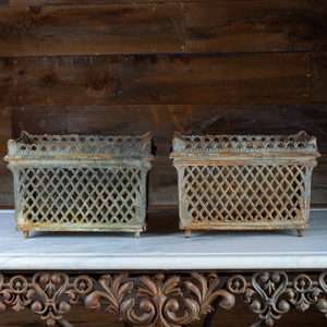 Pair of Pierced Metal Planters