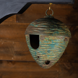 Group of Three Painted Metal Beehive Form Bluebird Houses on a Custom Ebonized Wood Stand