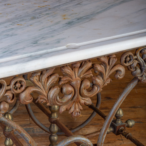 Brass-Mounted Wrought-Iron Center Table
