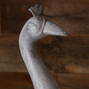 Cast Metal Figure of a Peacock