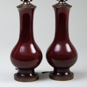 Pair of Small Copper Red Glazed Vases Mounted as Lamps