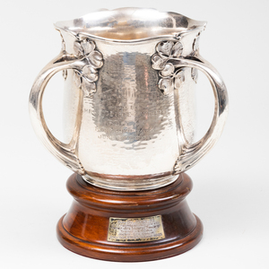 Gorham Silver Loving Cup Horse Racing Trophy with Wood Base