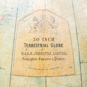 Large William IV Style Mahogany 30 Inch Terrestrial Globe, W. & A. K. Johnston Limited, Edinburgh and London