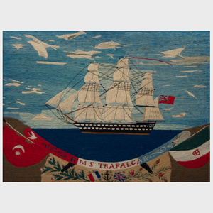 British Woolwork Picture of the H.M.S. Trafalgar