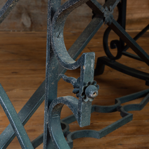 Black Painted Metal and Stone Center Table