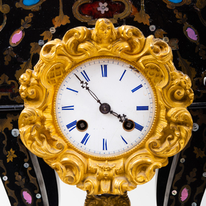 Inlaid Lacquer Bronze-Mounted Mantel Clock