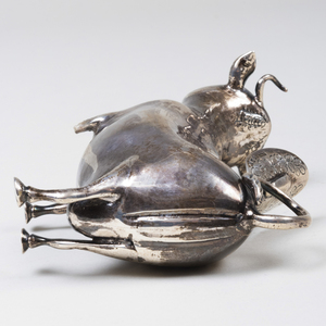 Silver Cow Form Creamer Inset with Cabochon Eyes