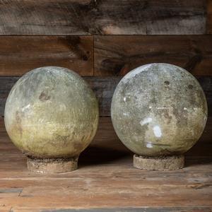 Two Composition Garden Orbs