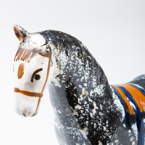 Group of Three English Creamware Sponge Painted Models of Horses