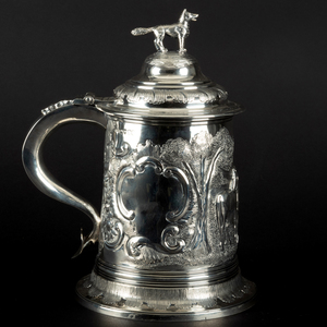 William IV Silver Tankard Repousse with Horses and Hound Finial
