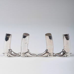Two Pair of English Silver Boot Form Casters