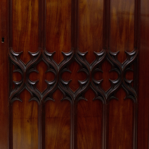 Fine English Neo-Gothic Carved Mahogany Armoire