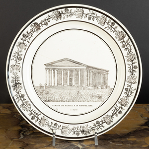 Group of Twelve French Transfer Printed Creamware Architectural Plates