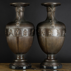 Pair of Italian Neoclassical Style Bronze Urns on Marble Bases, After the Antique