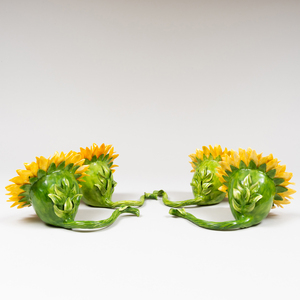 Set of Four Katharine Houston Porcelain Models of Sunflowers