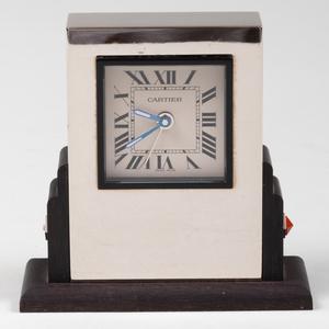 Cartier Art Deco Style Steel and Ebonized Wood 'Pendulette Basculante' Desk Clock