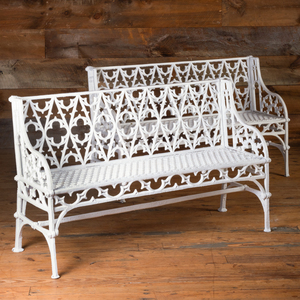 Pair of English Neo-Gothic Painted Cast-Iron Garden Benches, Attributed to Coalbrookdale