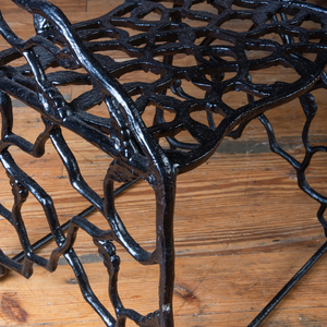 Rare Pair of Black Painted Cast Iron Twig Form Garden Chairs, Attributed to J.W. Fiske