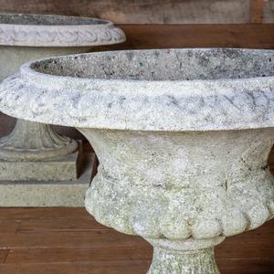 Set of Four Composition Semi Gadrooned Garden Urns