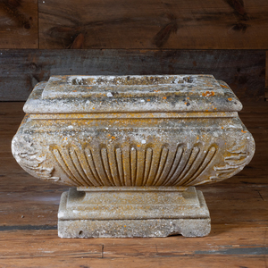 Acanthus Carved and Reeded Stone Garden Urn