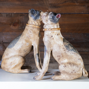 Pair of Painted Earthenware Seated Dogs