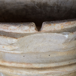 Carved White Marble Oval Basin