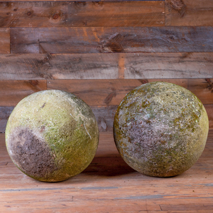 Pair of Large Composition Garden Spheres