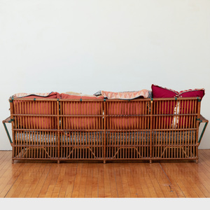 Pair of Large Rattan and Upholstered Sofas