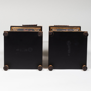 Pair of Black Painted Pagoda Form Obelisk, of Recent Manufacture