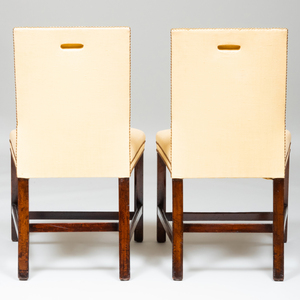 Pair of George III Mahogany and Linen Upholstered Side Chairs